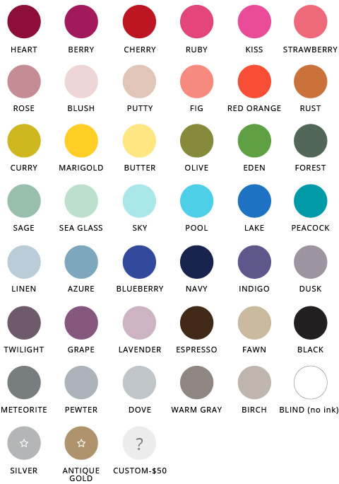 Letterpress Ink Selection | Over 40 options
