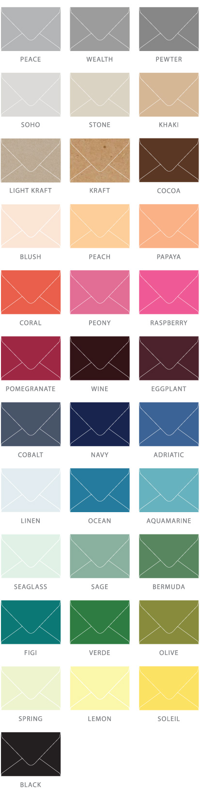 Colored Envelope Options | Over 30 options