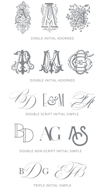Monogram Options | Initial Styles