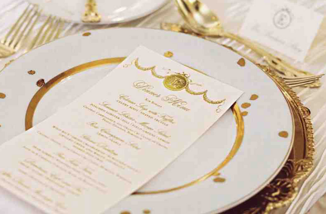 Custom Foil Stamped Gold Wedding Menu