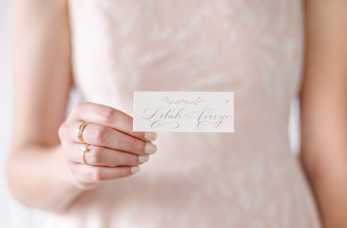 Calligraphy and letterpress Wedding Escort Cards | Elegant, Classic, Calligraphy