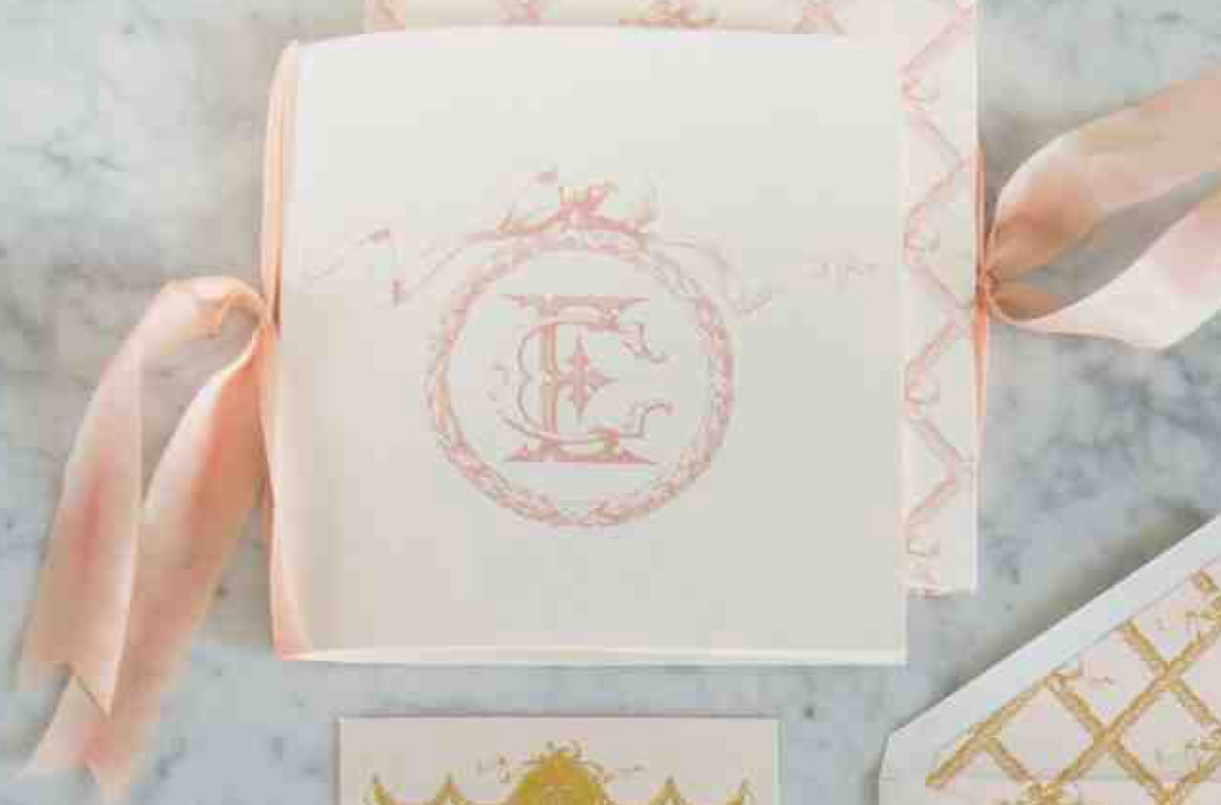 Digitally Printed Beautiful Booklet Programs with Blush Silk Ribbon