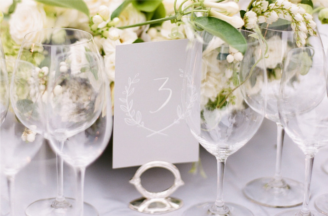 White Calligraphy Wedding Table Numbers