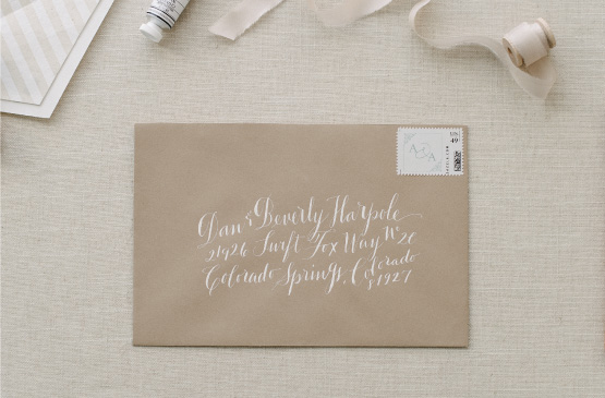 Wedding Invitation Envelope with white Calligraphy
