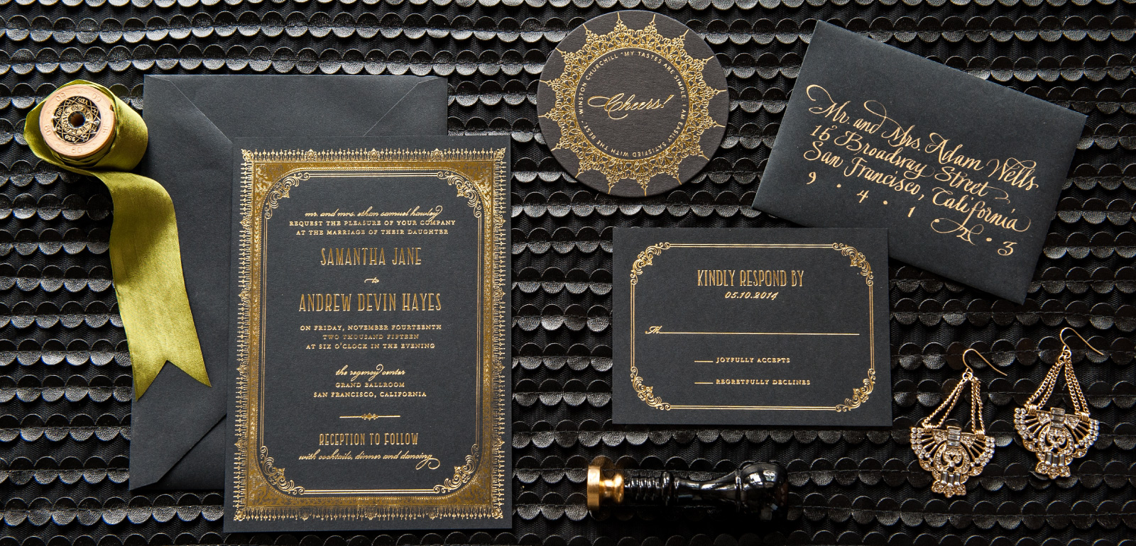Regency Foil Stamped Wedding Invitations | Elegent Gold Foil on Black Paper