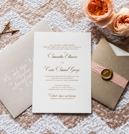 Lovely Foil Stamped Wedding Invitations | Classic, Elegent, Timeless Gold Foil
