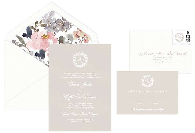 Bianca Foil Stamped Wedding Invitation | Classic + Vintage