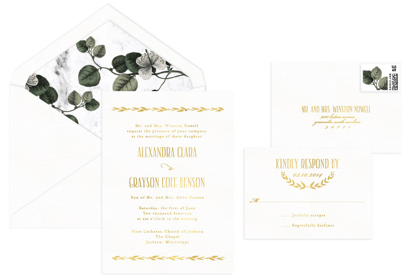 Coronet Foil Stamped Wedding Invitation | Classic