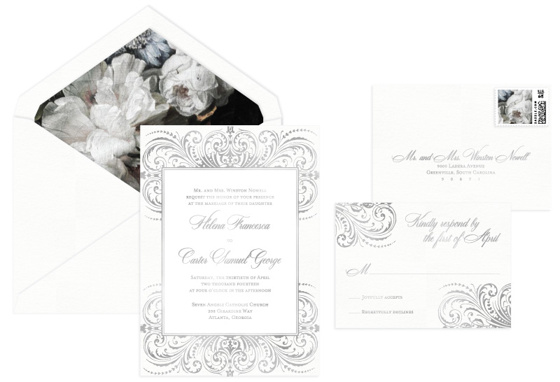 Darcy Foil Stamped Wedding Invitation | Classic + Vintage