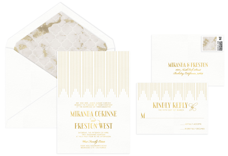 Empire Foil Stamped Wedding Invitation | Classic + Vintage