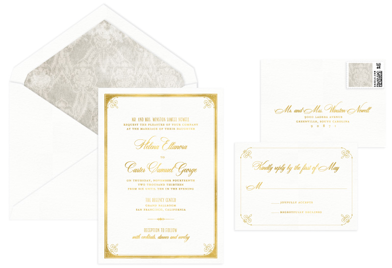 Fairmont Foil Stamped Wedding Invitation | Classic + Vintage