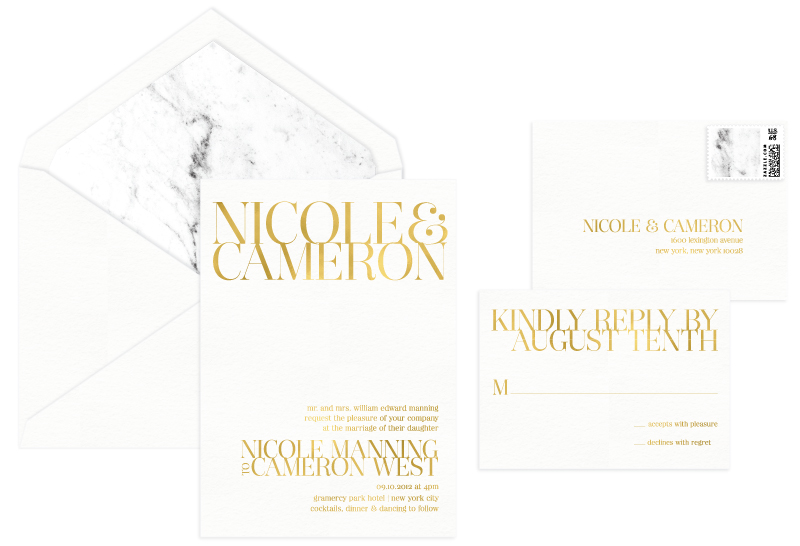 Gramercy Foil Stamped Wedding Invitation | Modern