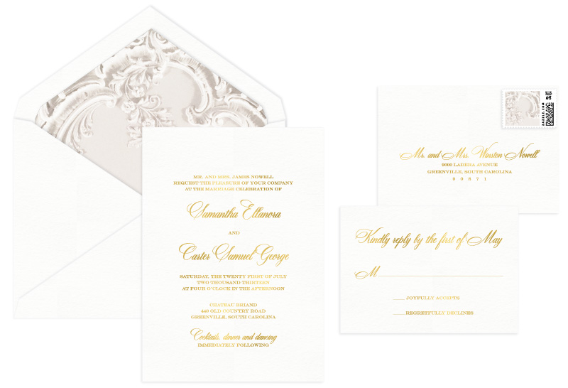 Lovely Foil Stamped Wedding Invitation | Classic