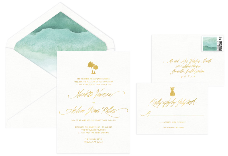 Riviera Foil Stamped Wedding Invitation | Modern + Destination