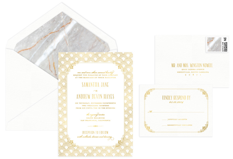 Wellesley Foil Stamped Wedding Invitation | Classic + Vintage